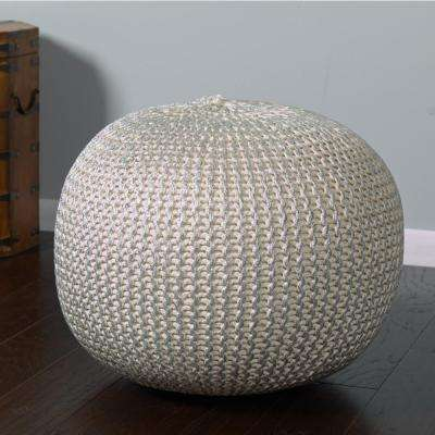 Bone and Silver Indoor Ottoman