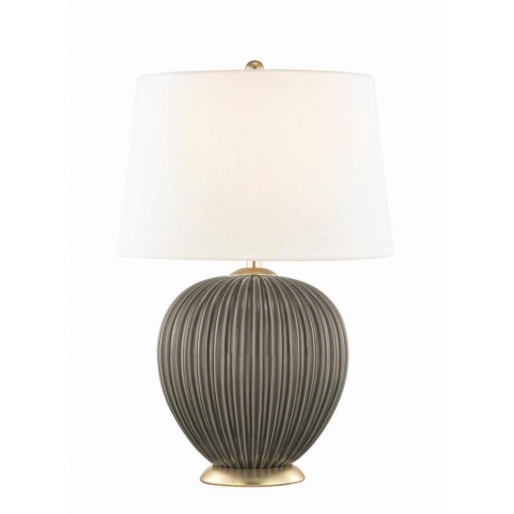 Mitzi by Hudson Valley Lighting Jessa 21 in. High Charcoal Table Lamp with Off White Linen Shade