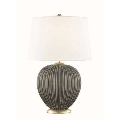 Jessa 21 in. High Charcoal Table Lamp with Off White Linen Shade