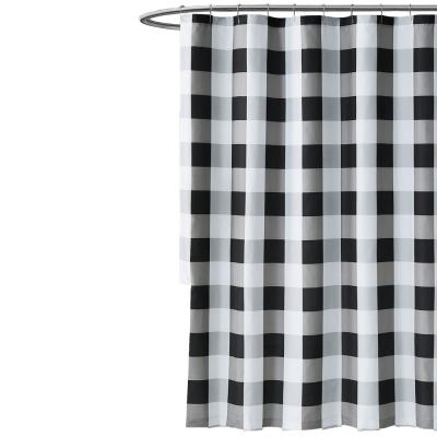 Everyday Buffalo Plaid 72 in. Black and White Shower Curtain