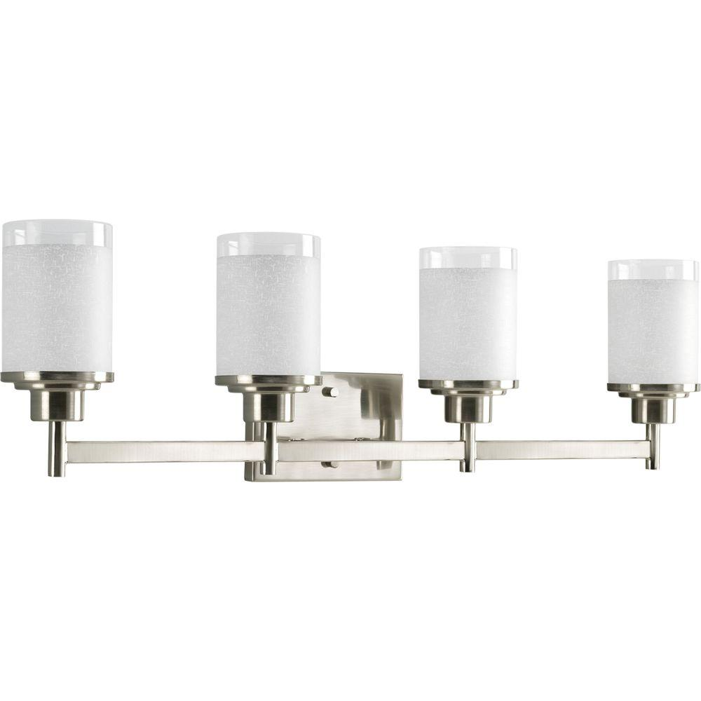 Progress Lighting Alexa Collection 31 In 4 Light Brushed Nickel Bathroom Vanity With Gl Shades