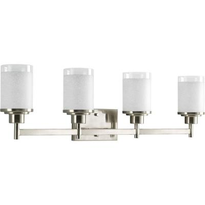 Alexa Collection 31 in. 4-Light Brushed Nickel Bathroom Vanity Light with Glass Shades
