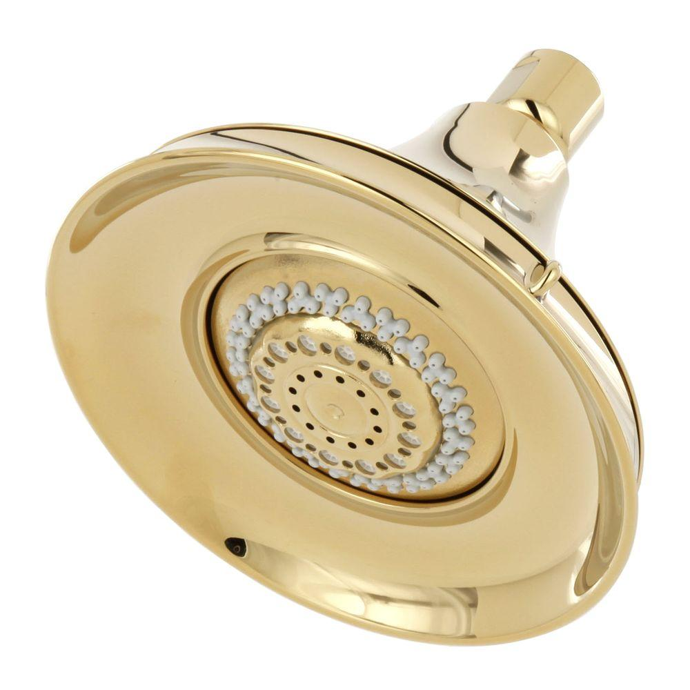 Forte 3-spray Multifunction 5-15/16 in. Raincan Showerhead in Polished Brass