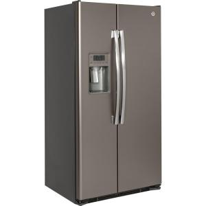 GE 36 in. W 21.9 cu. ft. Side by Side Refrigerator in Slate with ...