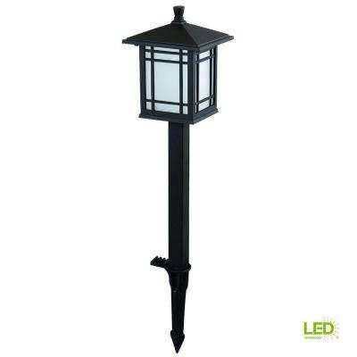 Low-Voltage Bronze Outdoor Integrated LED Mission Style Landscape Path Light with Frosted Glass Lens