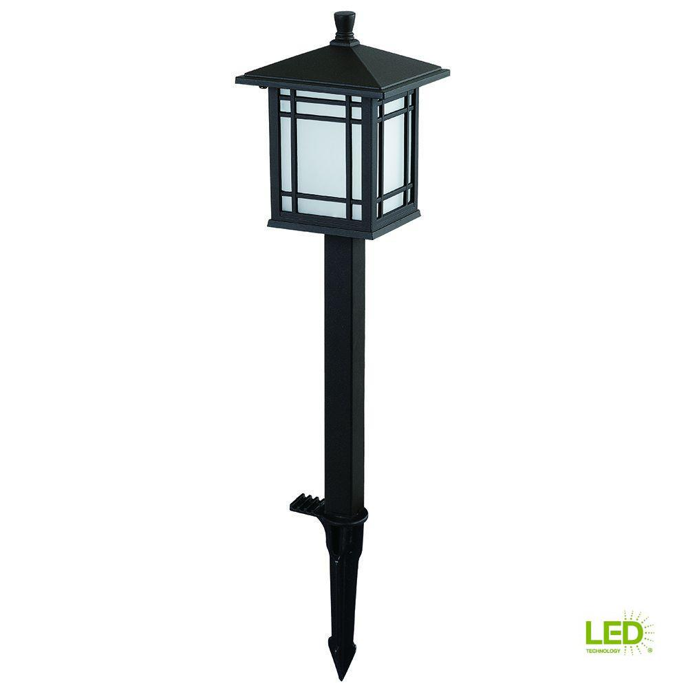 Hampton Bay Low Voltage Bronze Outdoor Integrated Led Mission Style Landscape Path Light With Frosted