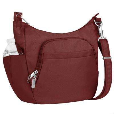 Anti-Theft Wine Poly Crossbody Bucket Tote Bag