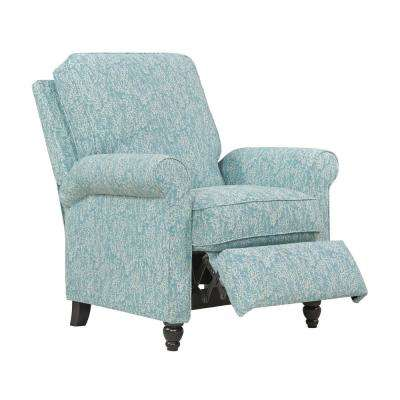 Blue Coral Woven Fabric Push Back Recliner Chair