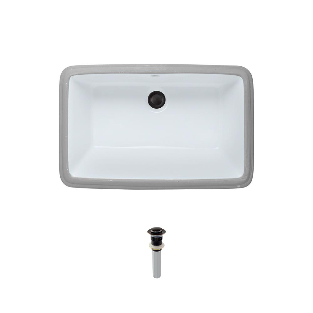 Undermount Porcelain Bathroom Sink in White with Pop-Up Drain in Antique