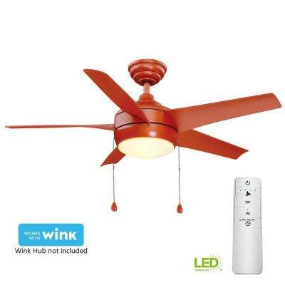 Windward 44 in. LED Orange Smart Ceiling Fan with Light Kit and WINK Remote Control