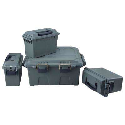 0.30 Cal. Poly Ammo Storage and Utility Box Set in OD Green with Rubber Gasket Seal (4-Piece)
