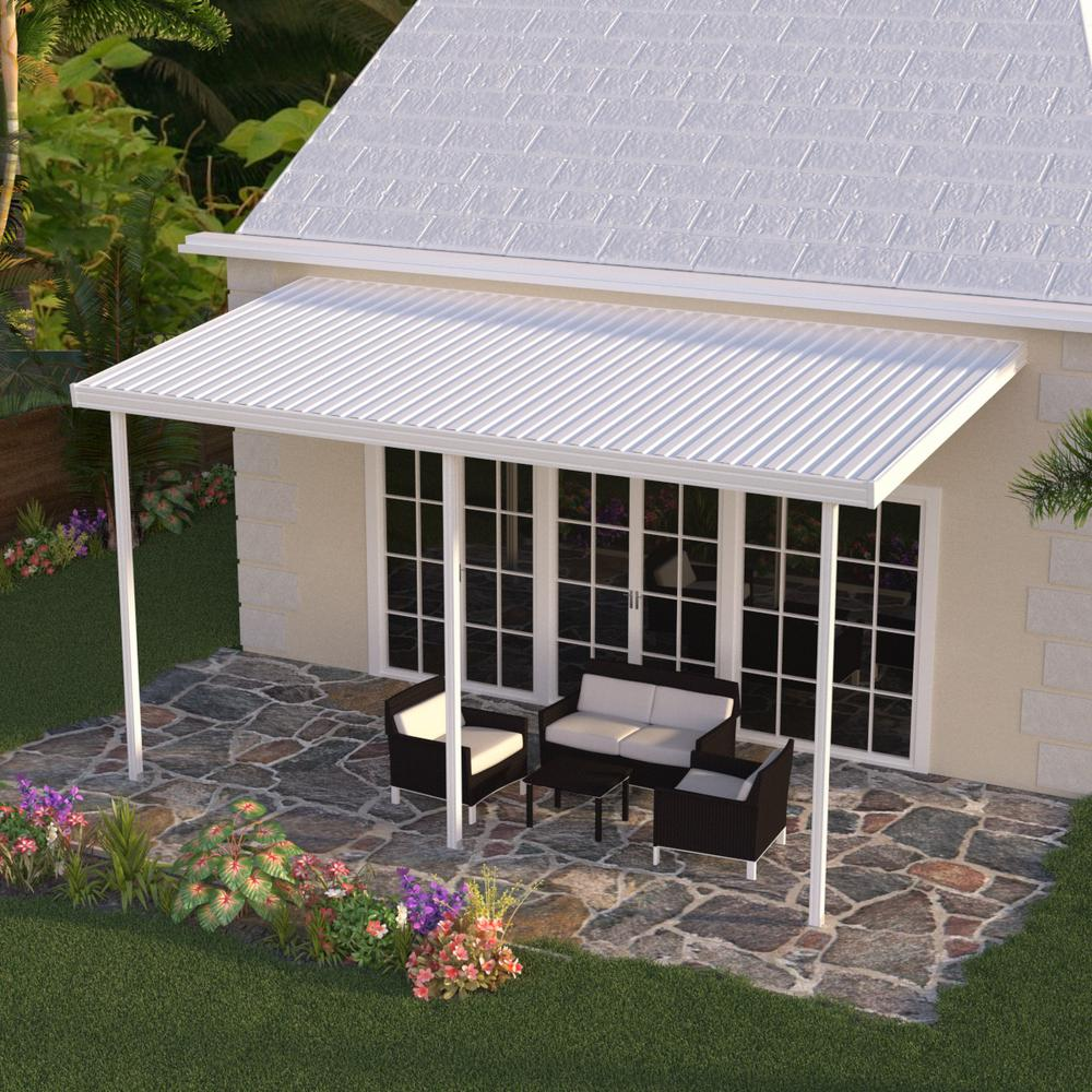 White Aluminum Attached Solid Patio Cover with 3 Posts (10 lbs. Live Load) - Integra 20 Ft. X 8 Ft. White Aluminum Attached Solid Patio Cover