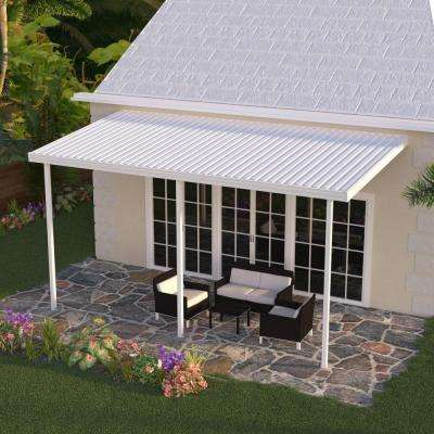 16 ft. x 8 ft. White Aluminum Attached Solid Patio Cover with 3 Posts (20 lbs. Live Load)