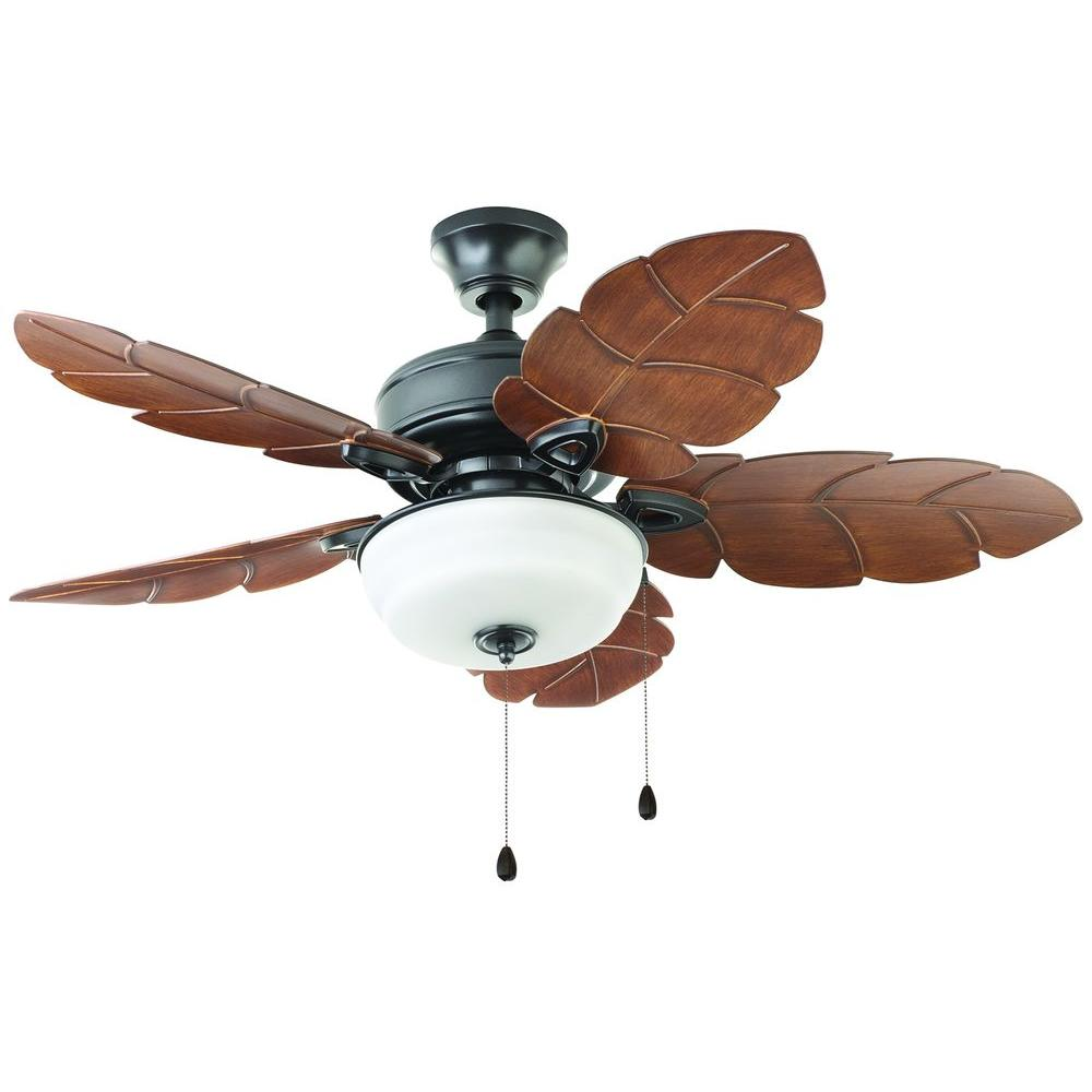 Home Decorators Collection Palm Cove 44 In Indoor Outdoor Natural Iron Ceiling Fan With Light