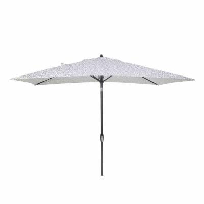 10 ft. x 6 ft. Aluminum Market Patio Umbrella in London Trellis Seaglass