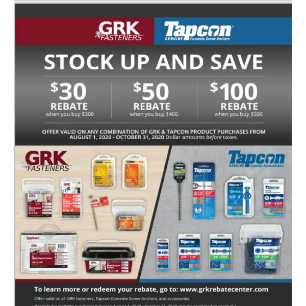 50 Screws per Package 772691122759 GRK RSS384HP RSS HandyPak 3//8 by 4-Inch Structural Screws