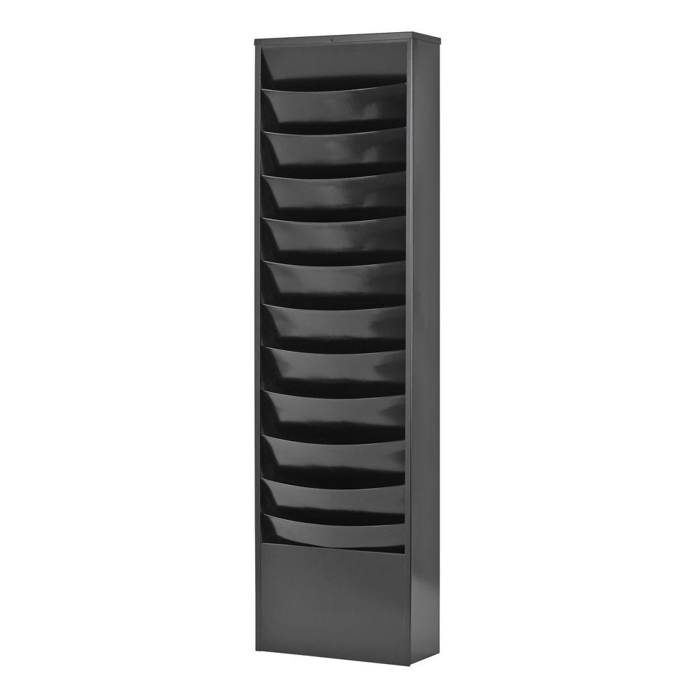 Eclipse 11-Pocket Curved Steel Literature Rack in Black