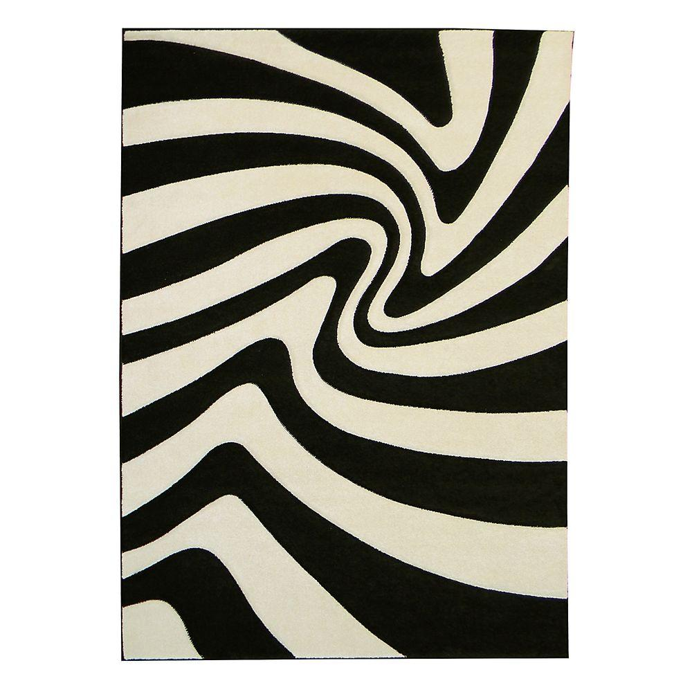 DonnieAnn Hollywood Design Zebra Pattern Black 5 ft. 2 in. x 7 ft. 2 in. Indoor Area Rug