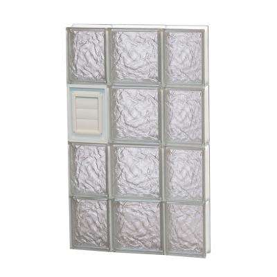 19.25 in. x 31 in. x 3.125 in. Ice Pattern Glass Block Window with Dryer Vent