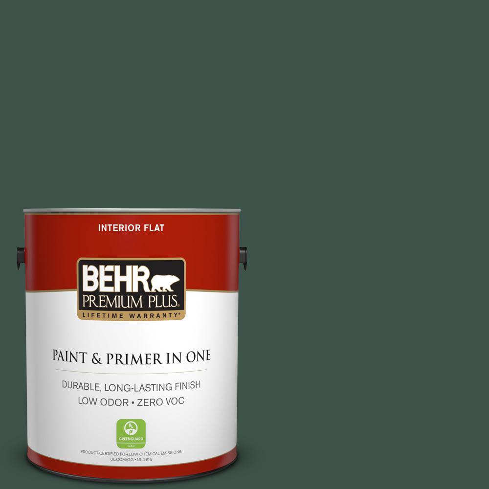 BEHR Premium Plus 1-gal. #470F-7 Deep Jungle Zero VOC Flat Interior Paint