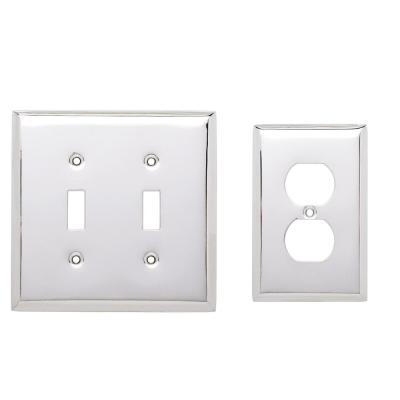 Chrome 3-Gang 2-Toggle/1-Duplex Wall Plate (2-Pack)