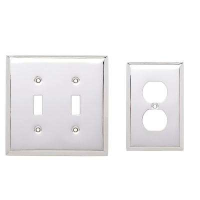 Stamped Square Decorative Switch and Duplex Outlet Cover, Polished Chrome (2-Pack)