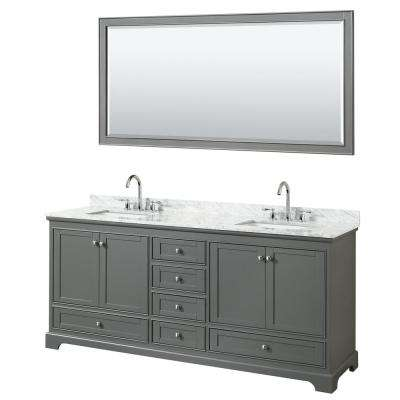 Deborah 80 in. Double Vanity in Dark Gray with Marble Vanity Top in White Carrara with White Basins and 70 in. Mirror