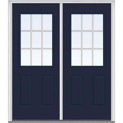 72 in. x 80 in. Tan Internal Grilles Left-Hand Inswing 1/2-Lite Clear Painted Fiberglass Smooth Prehung Front Door