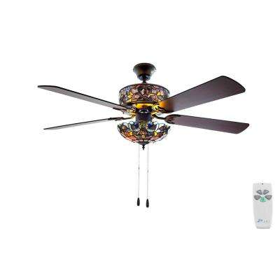52 in. Indoor Violet Ceiling Fan with Light Kit and Remote Control