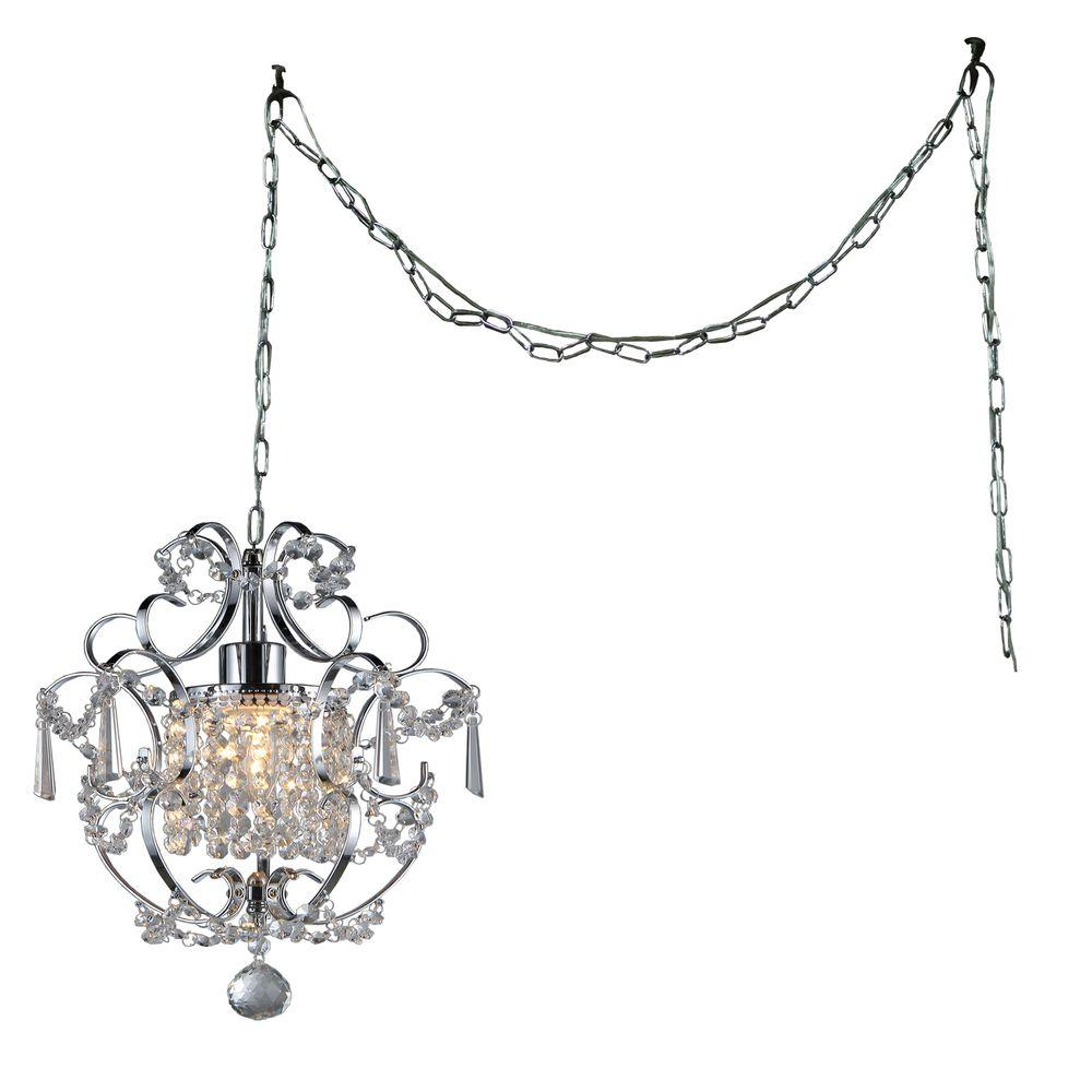 01dd3401617 Cynthia 11 in. Chrome Indoor Crystal Swag Chandelier with Shade ...
