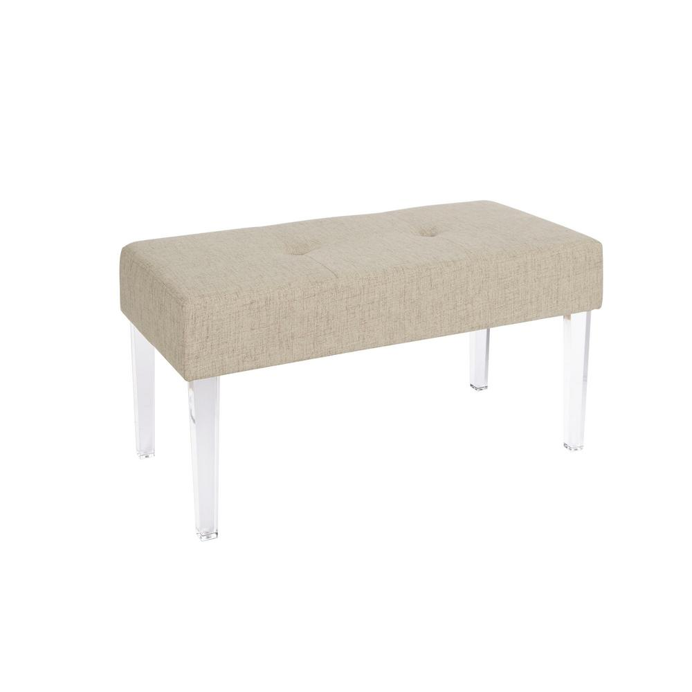 acrylic vanity bench | Silverwood Claire Gold and Clear Acrylic Rectangular ...