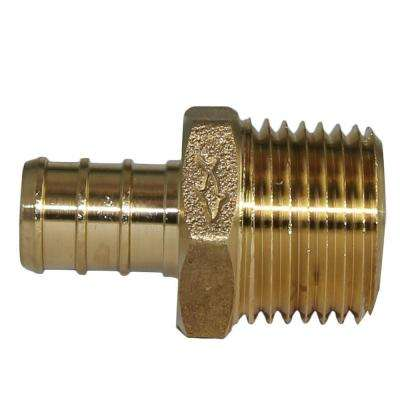 1/2 in. PEX Barb x MIP Brass Adapter Fitting (5-Pack)