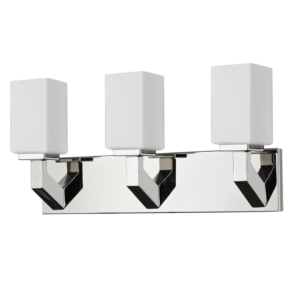 Acclaim Lighting Magnolia 3-Light Polished Nickel Vanity Light with Etched Glass Shades