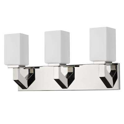 Magnolia 3-Light Polished Nickel Vanity Light with Etched Glass Shades
