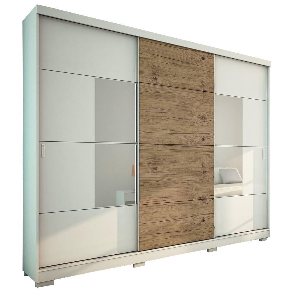 Manhattan Comfort Murphy 3-Door Wardrobe in Nature Pro-Touch/White High Gloss
