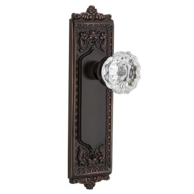 Ornate Pair of Door Backplates Cylinder Lock /& Crystal Door Knobs