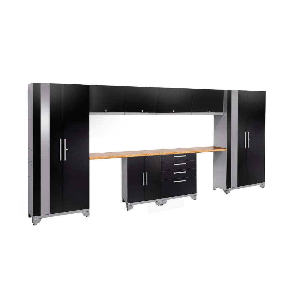 NewAge Products Performance 2.0 72 in. H x 156 in. W x 18 in. D Garage Cabinet Set in Black (10-Piece)