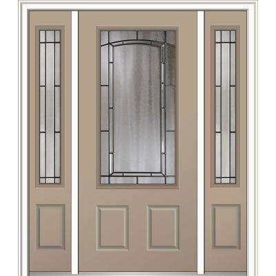 64 in. x 80 in. Solstice Glass Right-Hand 3/4-Lite 2-Panel Classic Painted Steel Prehung Front Door with Sidelites