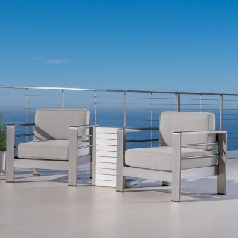 Cape Coral Silver 3-Piece Metal Patio Conversation Set with Cast Silver Sunbrella Cushions