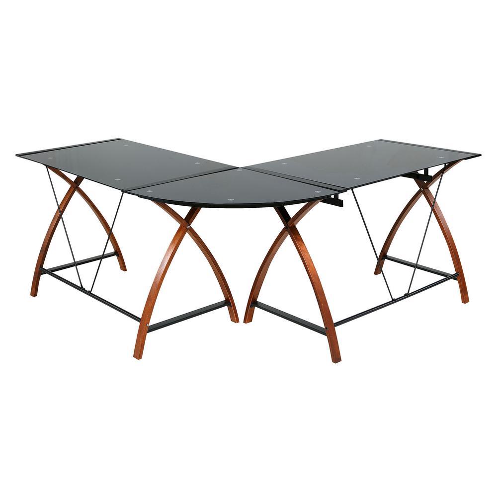 Onee Modern L Shaped Gl And Wood Desk