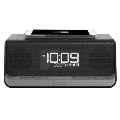 NFC Bluetooth Stereo Dual Alarm Clock with Speakerphone, Wireless Charging and 1 Amp USB Charging
