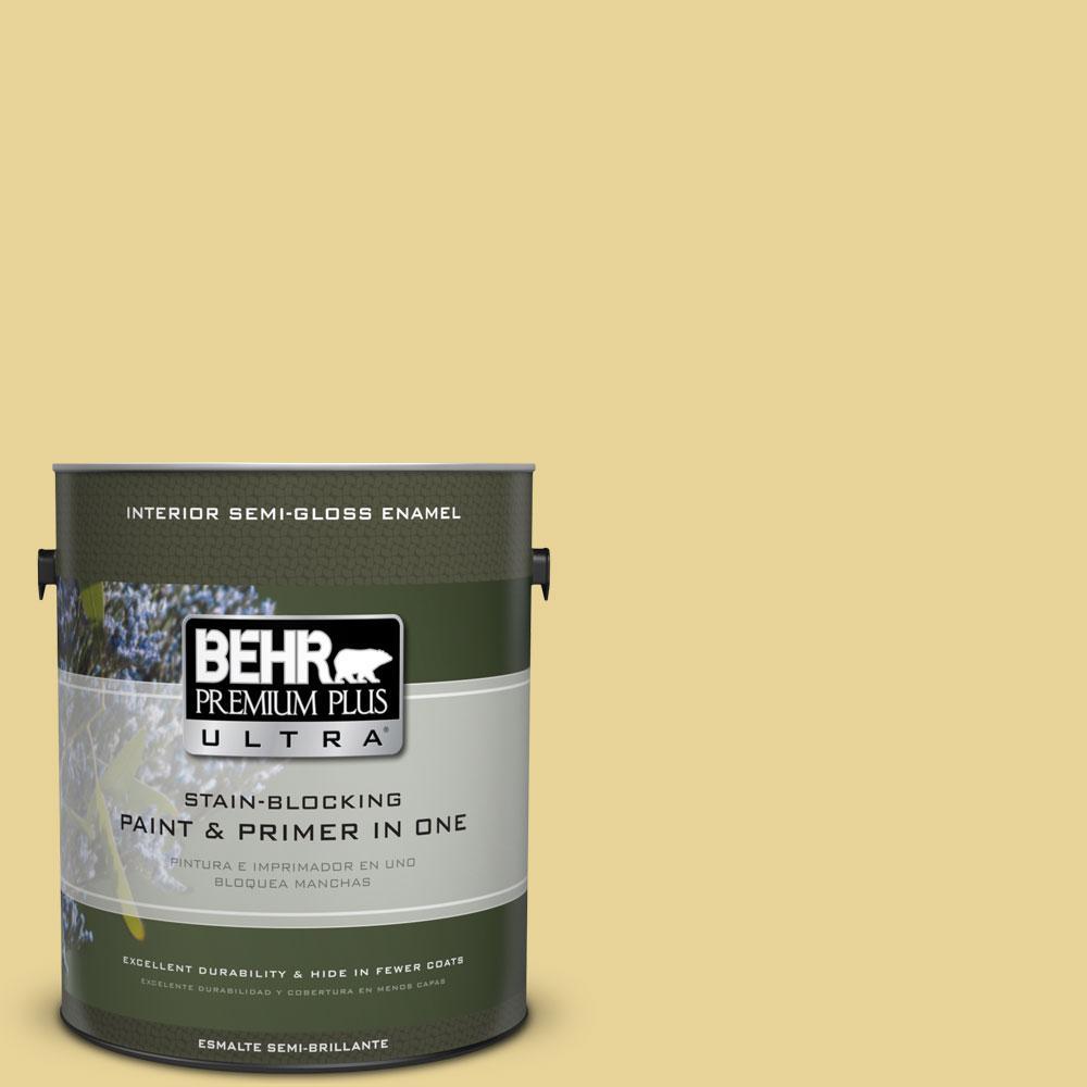 1-gal. #390D-4 Honey Beige Semi-Gloss Enamel Interior Paint