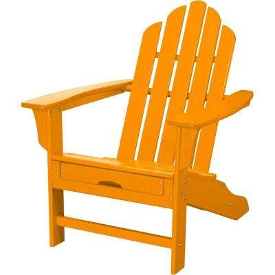 All-Weather Patio Adirondack Chair with Hide-Away Ottoman in Tangerine Orange