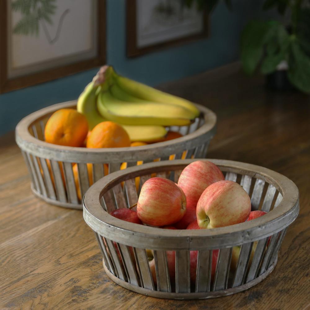Round Metal Galvanized Gray Decorative Basket (Set of 2)