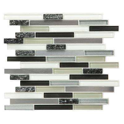 12 in. x 13 in. Multi-Material Backsplash Tile in Shades of Grey and White (6-Pack)