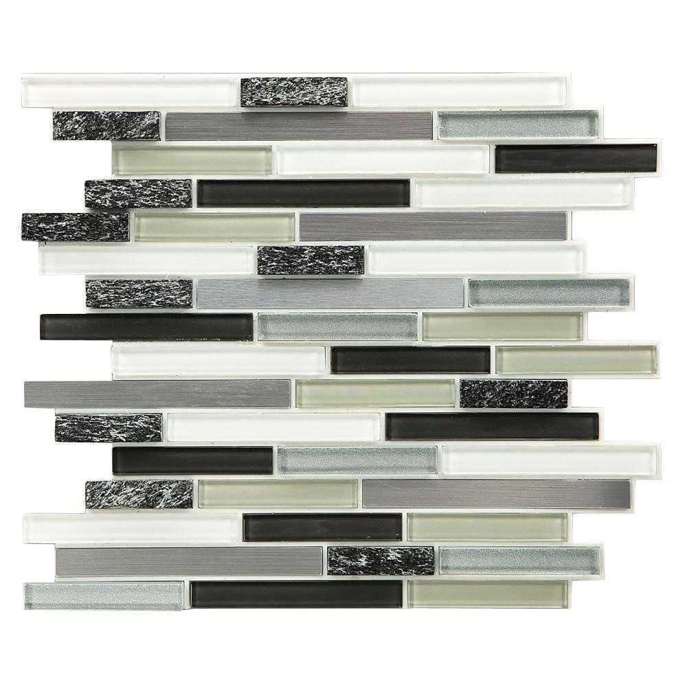 Instant Mosaic Peel and Stick GlassStoneMetal Wall Tile 3 in x