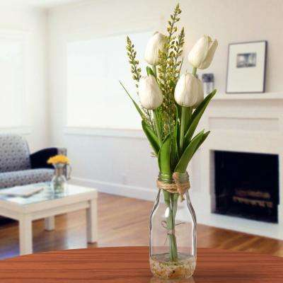 White Tulip Arrangement in Glass Vase