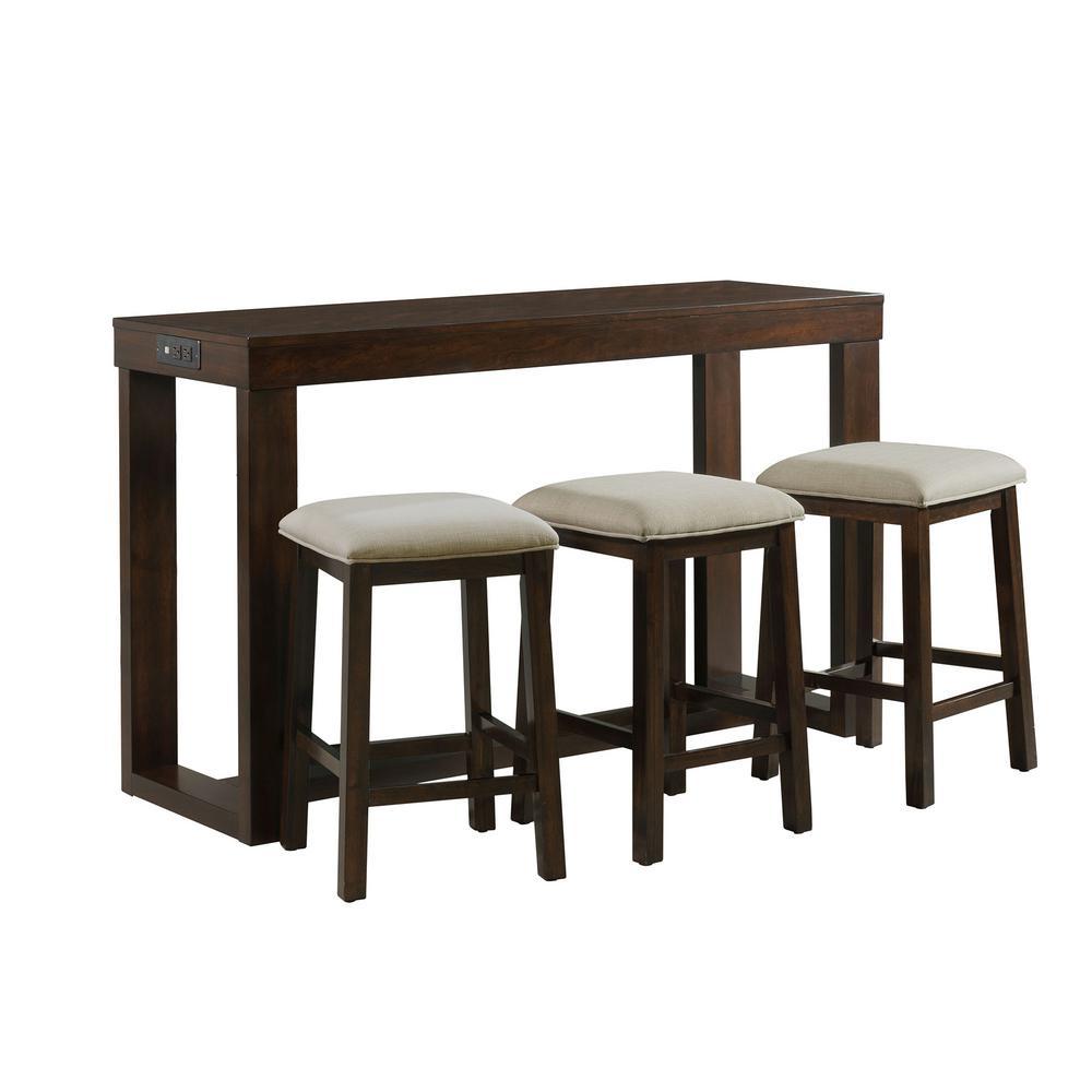 3 PCS Pub Dining Table Set w//Stool Pine Wood Kitchen Furniture Dining Room Black