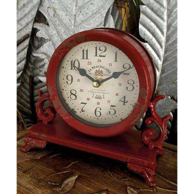 7 in. x 7 in. Burgundy Red and Mint Green Round Table Clocks on Rectangular Scrollwork-Designed Base (Set of 2)