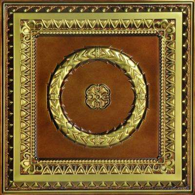 Laurel Wreath 2 ft. x 2 ft. PVC Lay-in or Glue-up Ceiling Tile in Brushed Brass (100 sq. ft. / case)